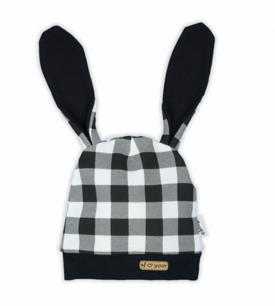 NICOL Kojenecká čepice Bunny kárko - černobílá, vel. 68