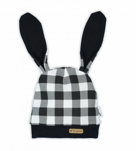 NICOL Kojenecká čepice Bunny kárko - černobílá, vel. 74