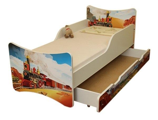 NELLYS Dětská postel se zábranou a šuplík/y Vlak - 160x90 cm