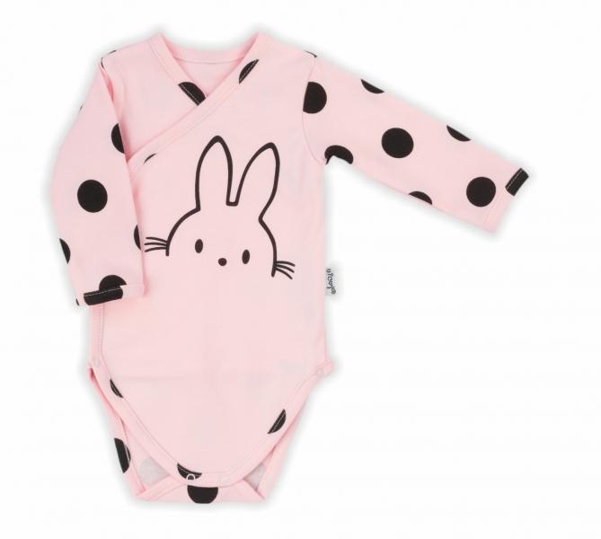 NICOL Body dlouhý rukáv, zapínání bokem - Bunny puntík, světle růžový