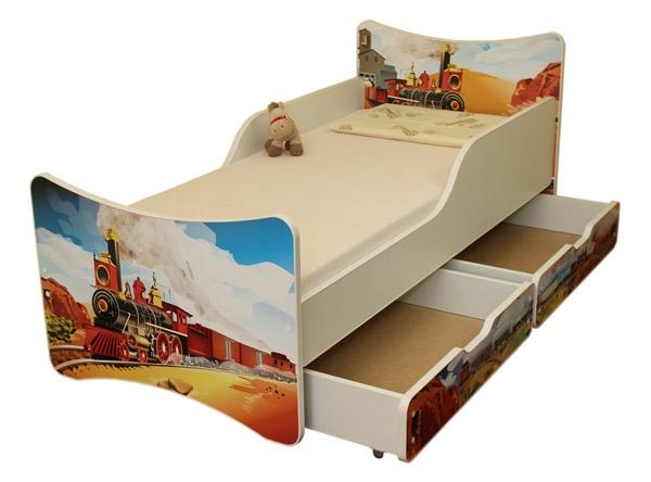 NELLYS Dětská postel se zábranou a šuplík/y Vlak - 200x90 cm