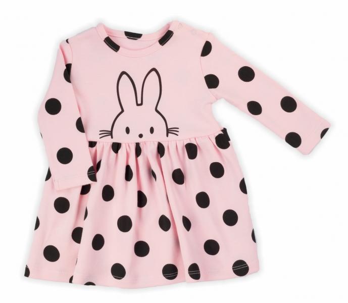 NICOL Šatičky Bunny puntík s dlouhým rukávkem - světle růžové, vel. 92
