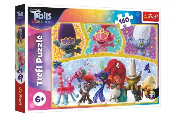 Puzzle Šťastný svět Trollů/Trolls world tour 41x27,5cm 160 dílků v krabici 29x19x4cm