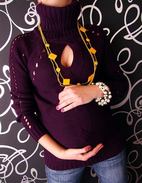 Be MaaMaa Těhotenská tunika s roláčkem LENKA - fialová