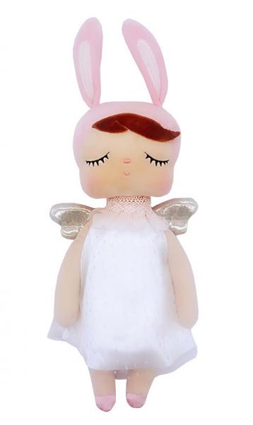 Hadrová panenka Metoo Andílek v šatičkách - růžovo/bílá