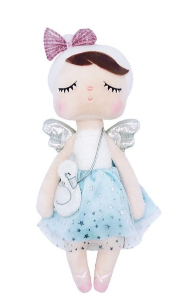 Hadrová panenka Metoo Andílek v šatičkách s kabelkou - modro/bílá