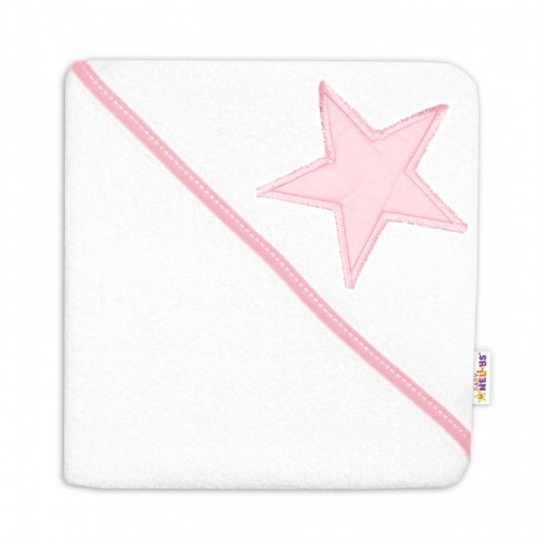 Baby Nellys Dětská termoosuška Baby Stars s kapucí, 80 x 80 cm - bílá/růžová
