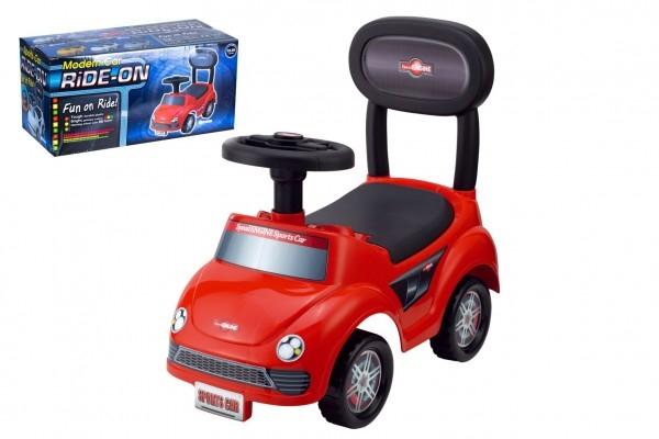 Odrážedlo auto plast červené výška sedadla 20cm v krabici 48x23,5x22,5cm 12-35m