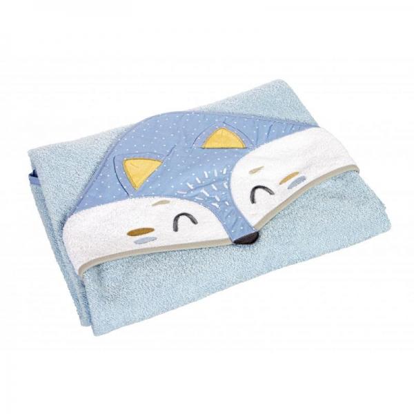 Canpol Babies Měkká osuška s kapucí, 100x100cm - Liška, modrá