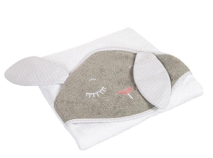 Canpol Babies Měkká osuška s kapucí  100x100cm - Králíček, bílo/šedá