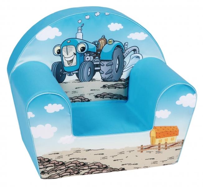 Delsit Dětské křesílko, pohovka - Traktor, světle modrý