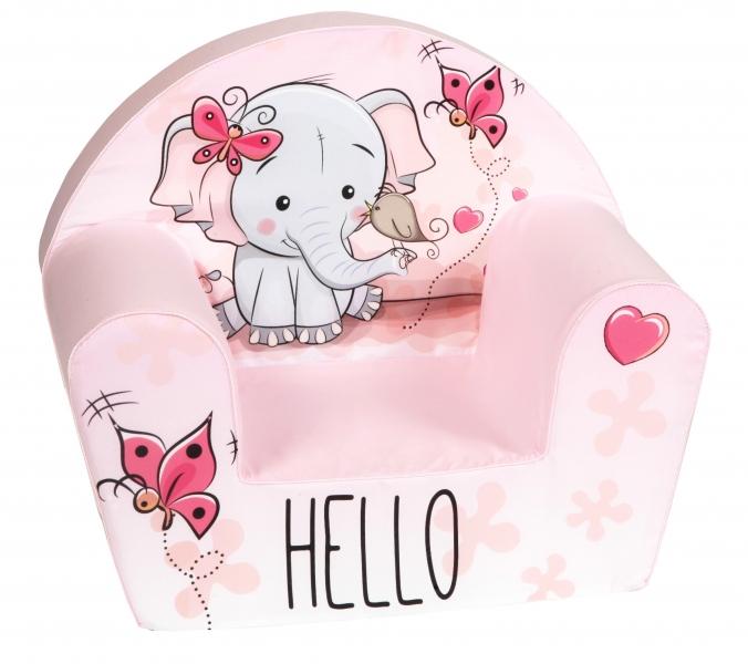 Delsit Dětské křesílko, pohovka - Slon Hello, světle růžové
