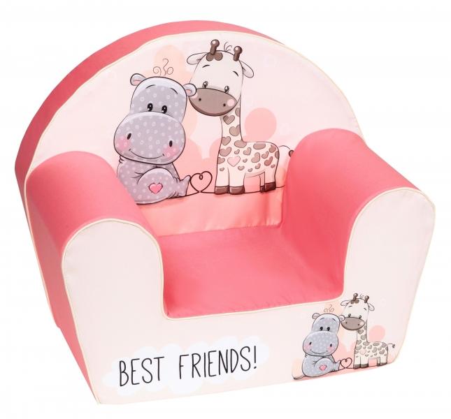 Delsit Dětské křesílko, pohovka - Hippo s žirafkou Best Friends, růžové