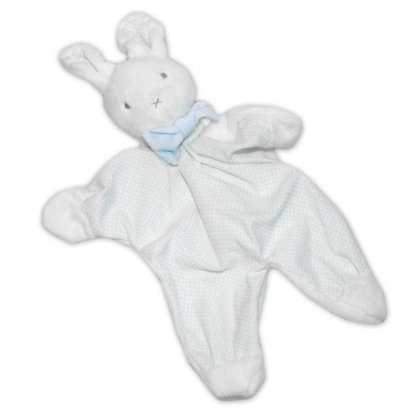 Přítulníček, mazlík BOBO BABY - Králíček, bílá/modrá