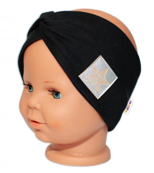 Baby Nellys Hand Made Jarní, bavlněná čelenka - dvouvrstvá, černá, 44-48 cm