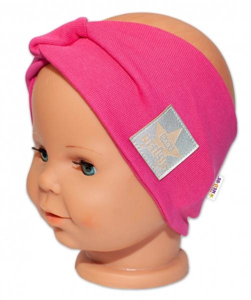 Baby Nellys Hand Made Jarní, bavlněná čelenka - dvouvrstvá, tm. růžová