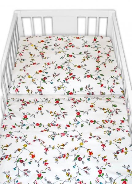 Baby Nellys 2 - dílné bavlněné povlečení -Luční kvítky, bílé, roz. 135x100 cm