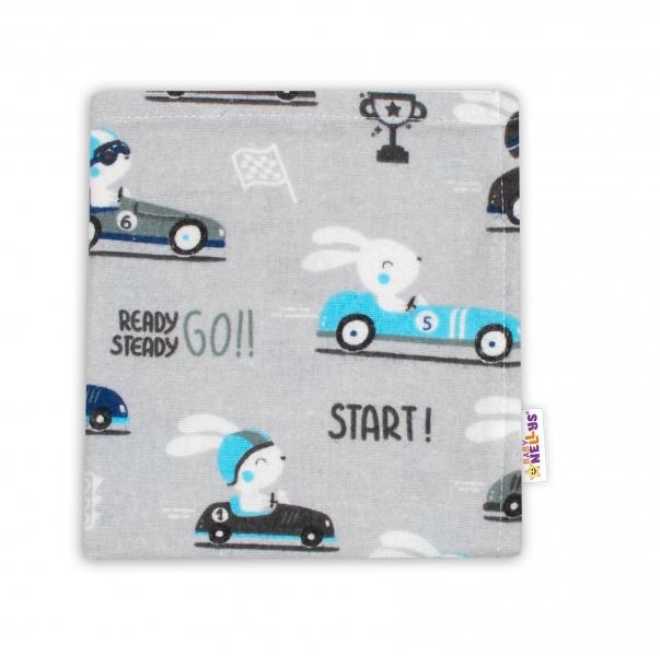 Baby Nellys Mini flanelová plenka 37x37 cm -  Závody v šedé