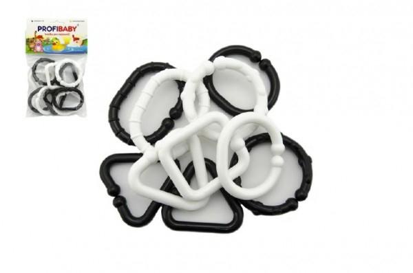 Plastové tvary černobílé řetěz 10 ks v sáčku