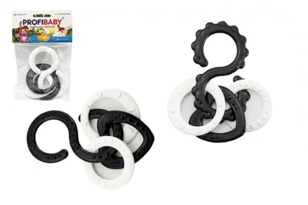 Osmičky s přívěsky plast černobílé 10cm 2 druhy v sáčku 0m+