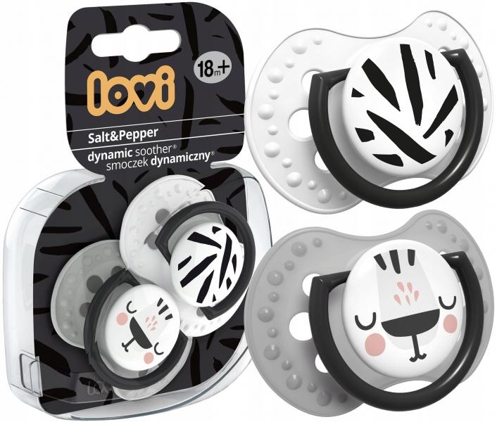 Dudlíky Lovi 18m+, Salt & Peper - černá, šedá, bílá