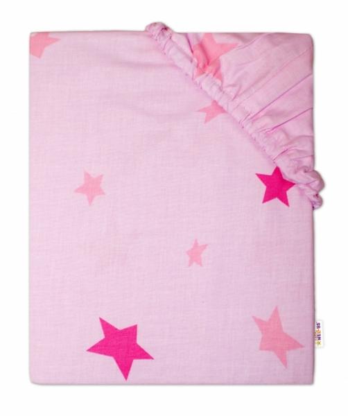Baby Nellys Dětské bavlněné prostěradlo do ohrádky, 90x90cm - Hvězdičky růžové