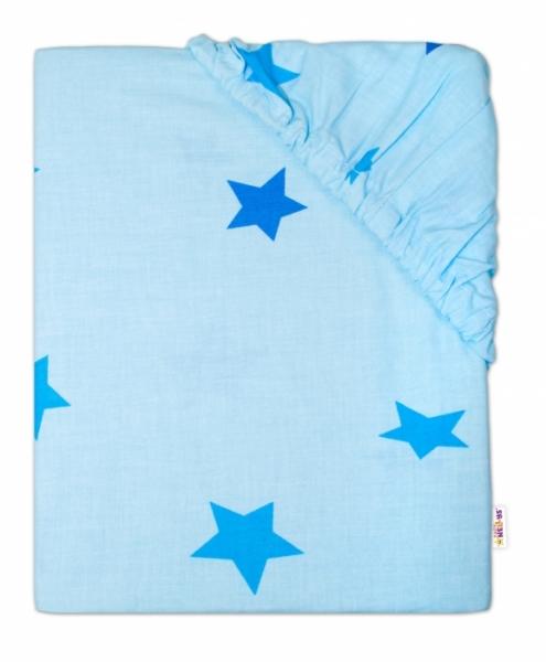 Baby Nellys Dětské bavlněné prostěradlo do ohrádky, 90x90cm - Hvězdičky modré