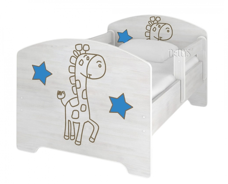 NELLYS Dětská postel Žirafka STAR modrá v barvě norské borovice + matrace zdarma
