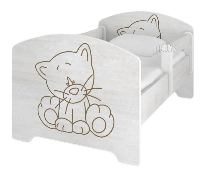 NELLYS Dětská postel Kočička v barvě norské borovice + matrace zdarma