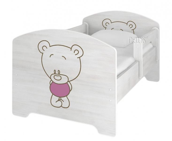 NELLYS Dětská postel BABY BEAR růžový v barvě norské borovice + matrace zdarma