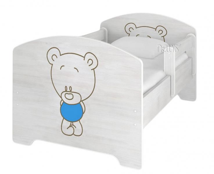 NELLYS Dětská postel BABY BEAR modrý v barvě norské borovice + matrace zdarma