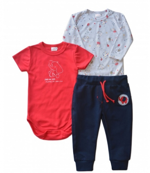 K-Baby 3 dílná sada - body kr. rukáv, body dl. rukáv, tepláčky - sloník, vel. 68