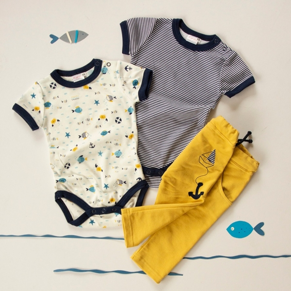 K-Baby 3 dílná sada - 2x body kr. rukáv, tepláčky - námořník, vel. 74
