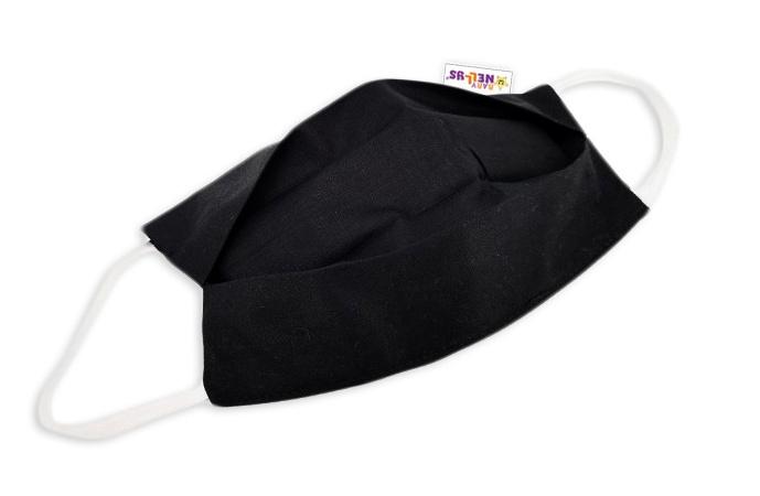 Bavlněná rouška, dvouvrstvá s kapsou na filtr na gumičku - černá