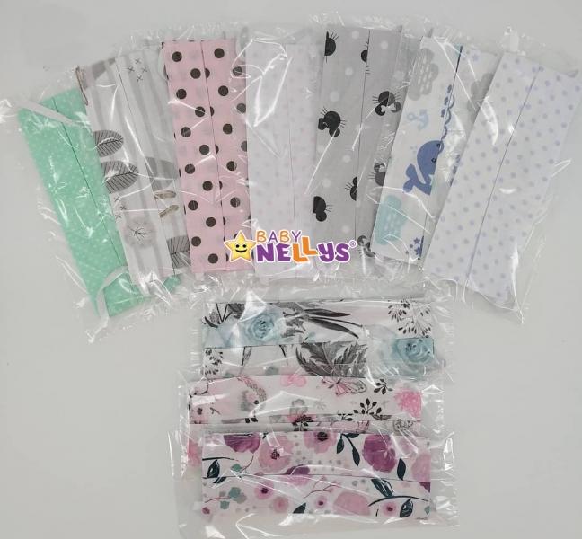 Dětská bavlněná rouška, dvouvrstvá s kapsou na filtr na gumičku - dívčí motivy