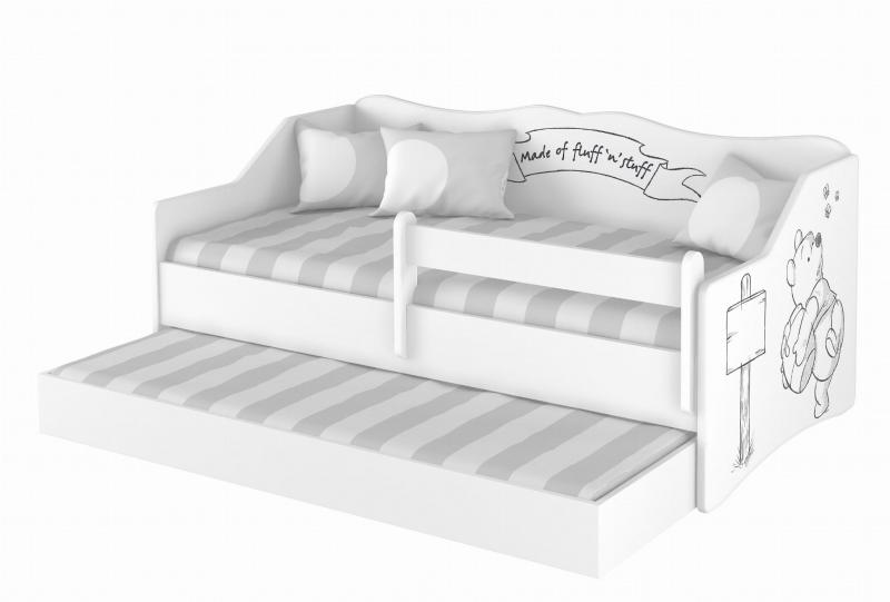 BabyBoo Dětská postel LULU 160 x 80 cm - bílá Medvídek Pú - black