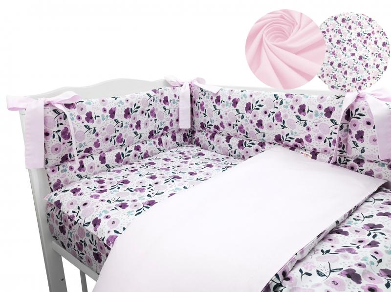 3-dílná sada mantinel s povlečením Baby Nellys - Luční kvítky, růžová, 135x100cm, Velikost: 135x100