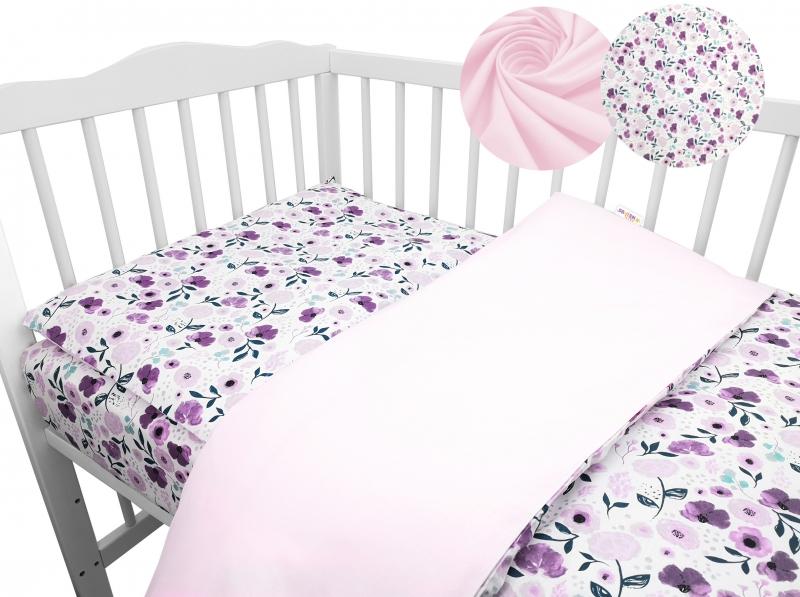 2-dílné bavlněné povlečení Baby Nellys - Luční kvítky, růžová, roz. 135x100 cm