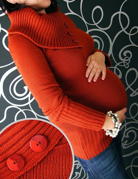 Těhotenský svetřík KARLA - červená/cihlová