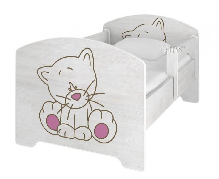 NELLYS Dětská postel 160x80cm, Kočička růžová v barvě norské borovice + matrace zdarma