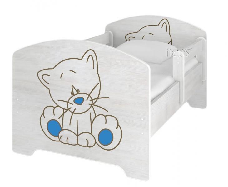 NELLYS Dětská postel 160x80cm,  Kočička modrá v barvě norské borovice + matrace zdarma