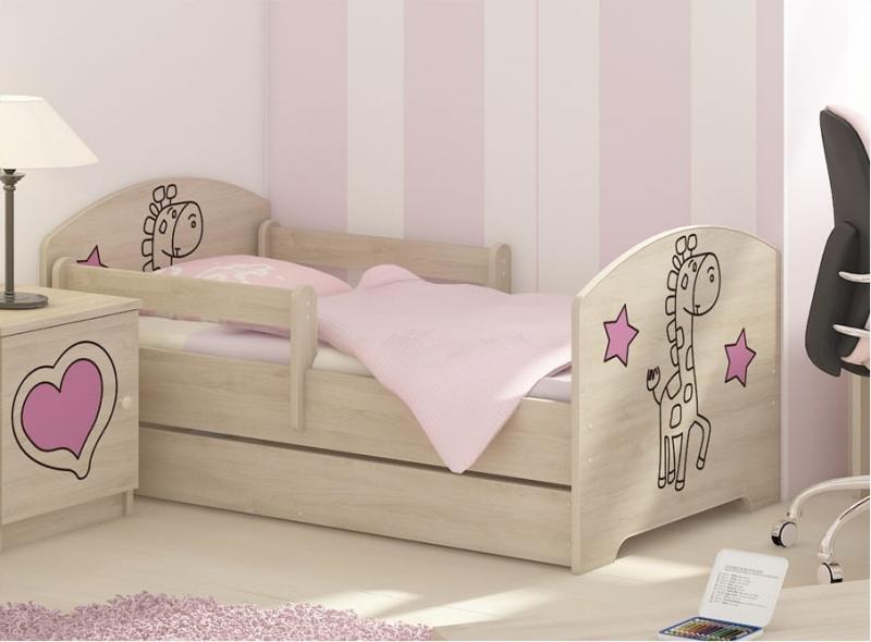NELLYS Dětská postel 160x80cm, Žirafka STAR růžová v barvě norské borovice, matrace zdarma