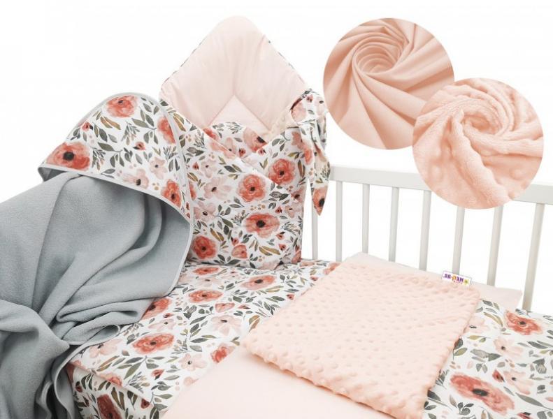 Baby Nellys 6-ti dílná výhodná sada s dárkem pro miminko, 120 x 90 cm - Begónie