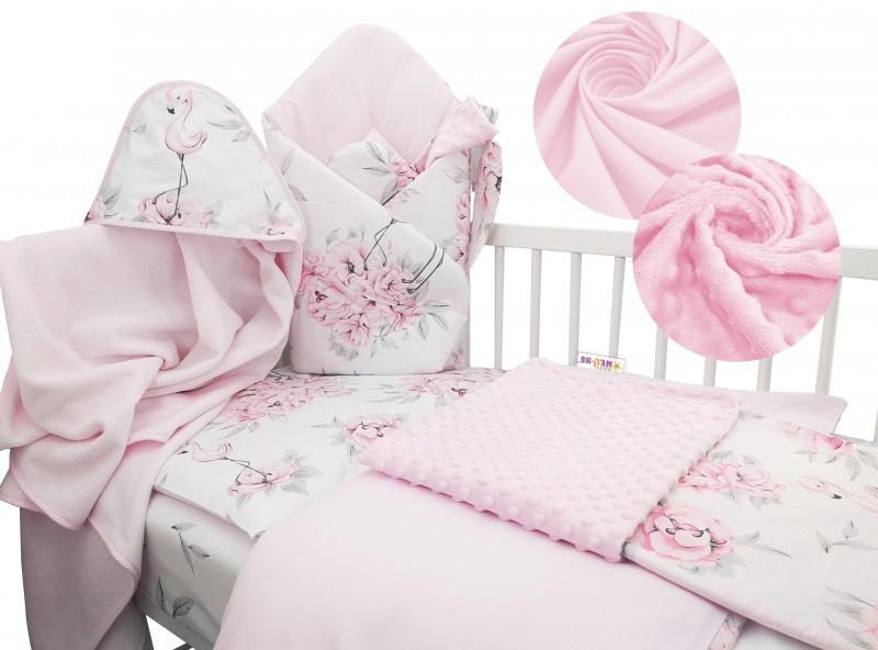 Baby Nellys 6-ti dílná výhodná sada s dárkem pro miminko, 135x100 cm - Plameňák růžový