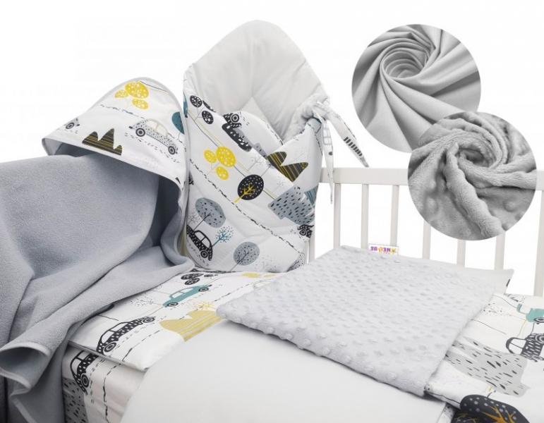 Baby Nellys 6-ti dílná výhodná sada s dárkem pro miminko, 120 x 90 cm - Auta v aleji