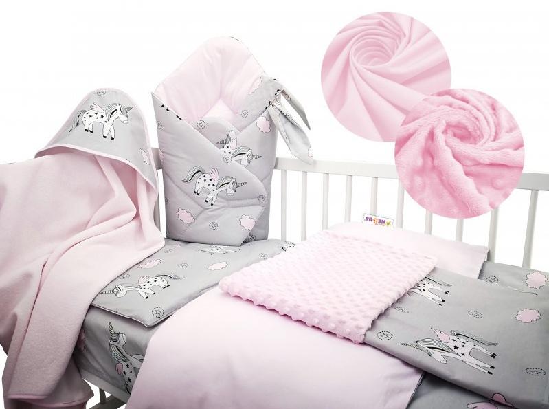 Baby Nellys 6-ti dílná výhodná sada s dárkem pro miminko, 120 x 90 cm - Jednorožec, růžový