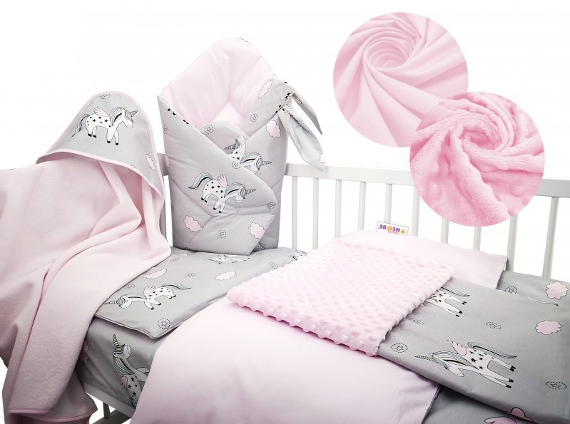 Baby Nellys 6-ti dílná výhodná sada s dárkem pro miminko, 135 x 100 cm - Jednorožec,růžový