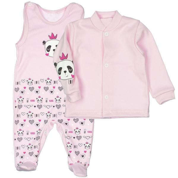 MBaby 2-dílná kojenecká sada PANDA Love, vel. 62 - světle růžová
