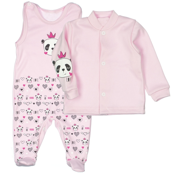 MBaby 2-dílná kojenecká sada PANDA Love, vel. 68 - světle růžová