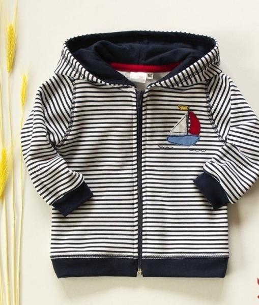 K-Baby Mikinka s kapucí, plachetnice - tm. modré proužky, vel. 98